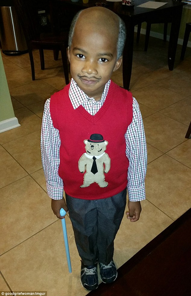 This bizarre picture was captioned: 'My husband may have gone too far in dressing our son like an old man for school today'