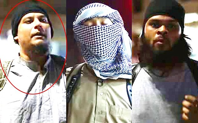 Stills from the new ISIS video featuring Shafi (left and circled, Tawsif Hossain (centre) and Tushar