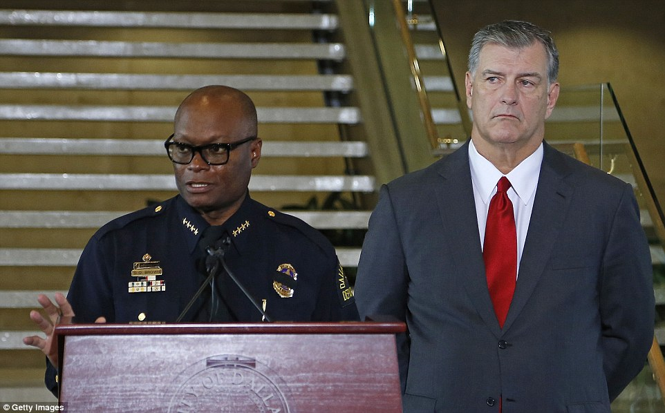 Police officers are on alert across the country in the wake of deadly sniper attacks in Dallas on Thursday that left five cops dead. Above, Dallas police chief David Brown (left) and Dallas Mayor Mike Rawlings