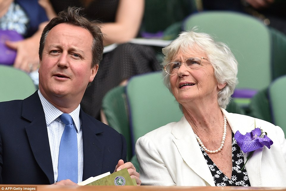 Mr Cameron, left, took his mother Mary, right, to the event, with his time as Prime Minister set to end later this year