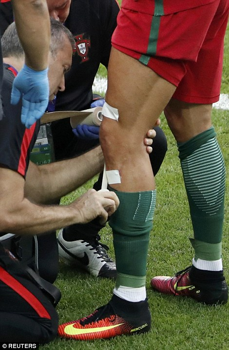 He had his injured knee strapped
