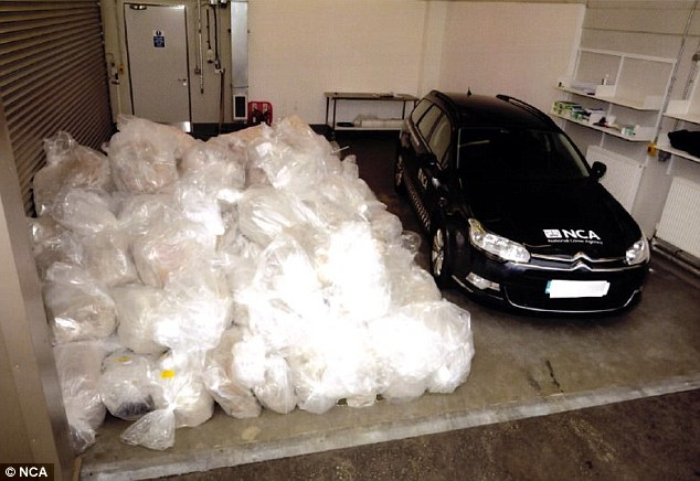 A huge amount of drugs were found in the ship, with a pile of bags twice the size of a large family car