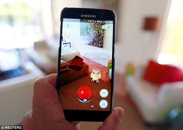 Pokemon Go allows players to flit between the real and virtual world to capture different creatures which appear on phone screens in a number of real-life locations (the map of the game is pictured above). However, experts have warned that iOS users of Pokémon Go are putting themselves at risk by signing up using Google.