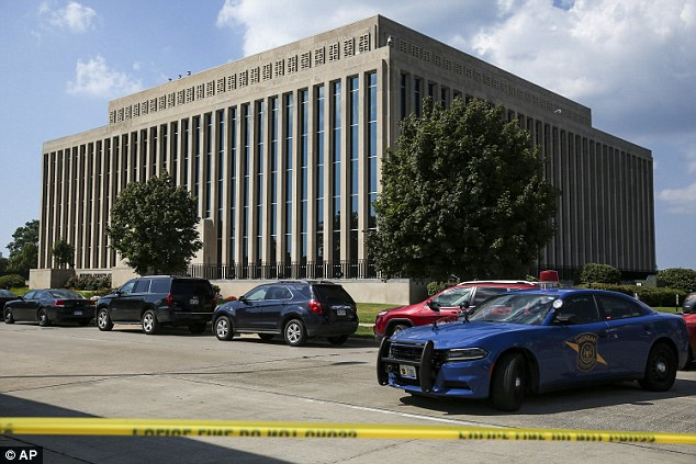 The shooting took place shortly before 2.30pm on Monday on the third floor of the courthouse building