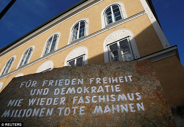 A stone outside the house in which Adolf Hitler was born, with the inscription