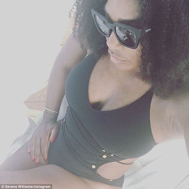 Work it: Serena Williams decided to strip down to a swimsuit on Wednesday to show off her toned and impressive figure