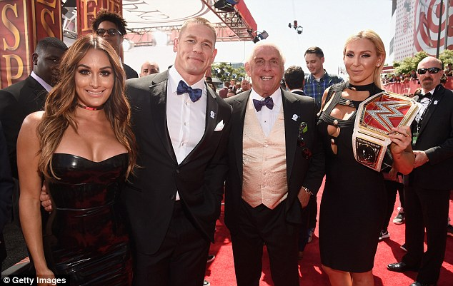 WWE star John Cena (second left) hosted the show from the Microsoft Theater in downtown Los Angeles