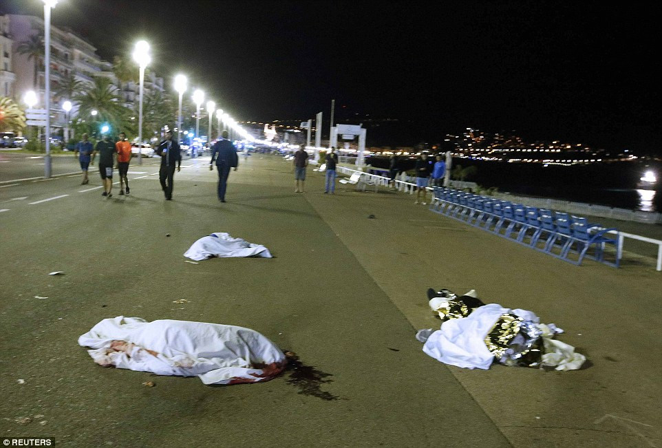 Bodies were strewn over more than 100 metres along the promenade in Nice in the South of France