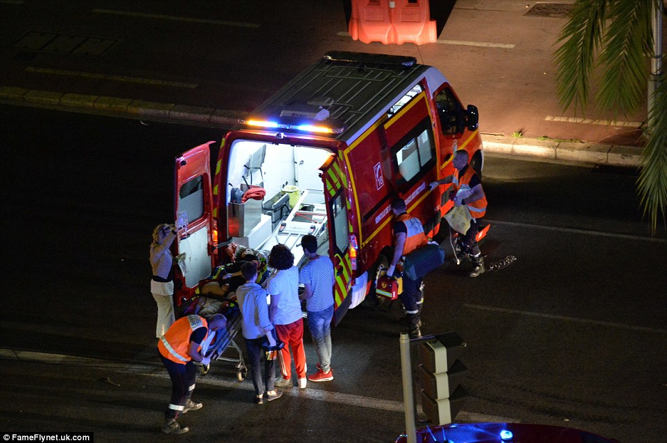 Emergency services took badly wounded survivors away from the scene in a fleet of ambulances to nearby hospitals for treatment