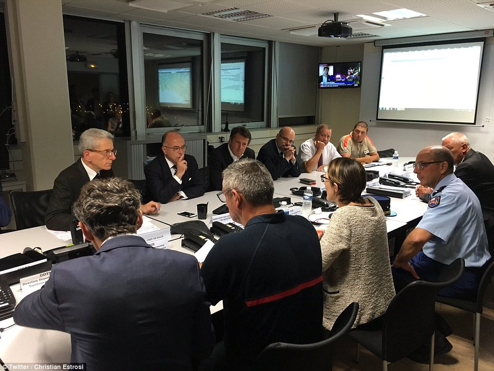 French interior minister BernardCazeneuve, back row, second left, held crisis meetings in Nice in the aftermath of the terrorist attack