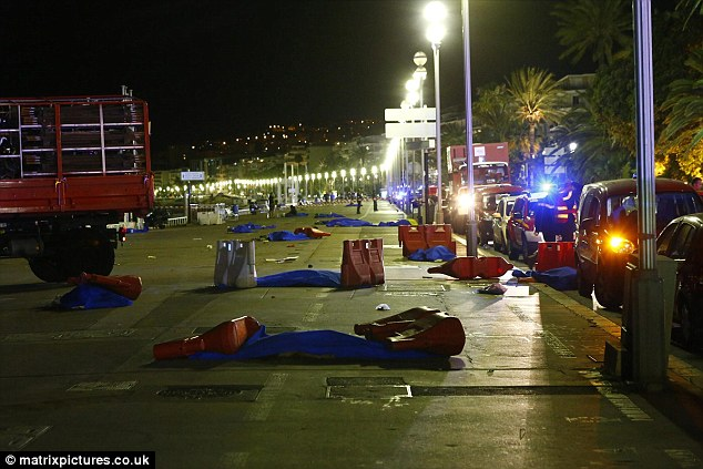Carnage: Bodies were left strewn on the promenade after Bouhlel  rampaged through the crowded streets and opened fire