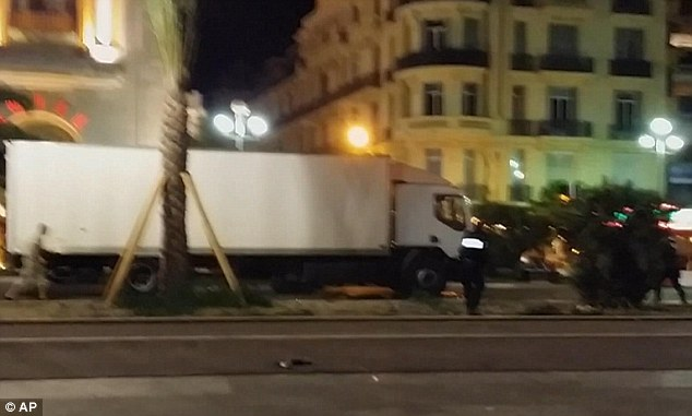 Intense fighting: Police fired dozens of rounds into the cab of the lorry after its mile-long rampage with witnesses saying the suspect was firing out of the cab and died