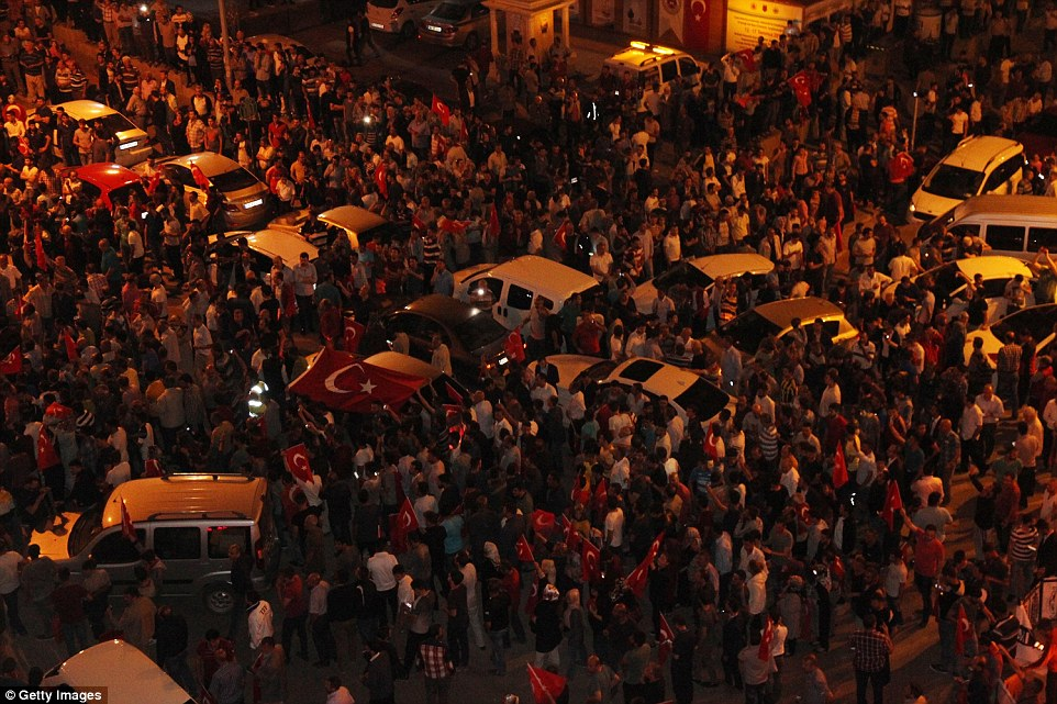 Thousands of supporters in the city of Yozgat, about 100 miles east of Ankara  demonstrated against the attempted military coup