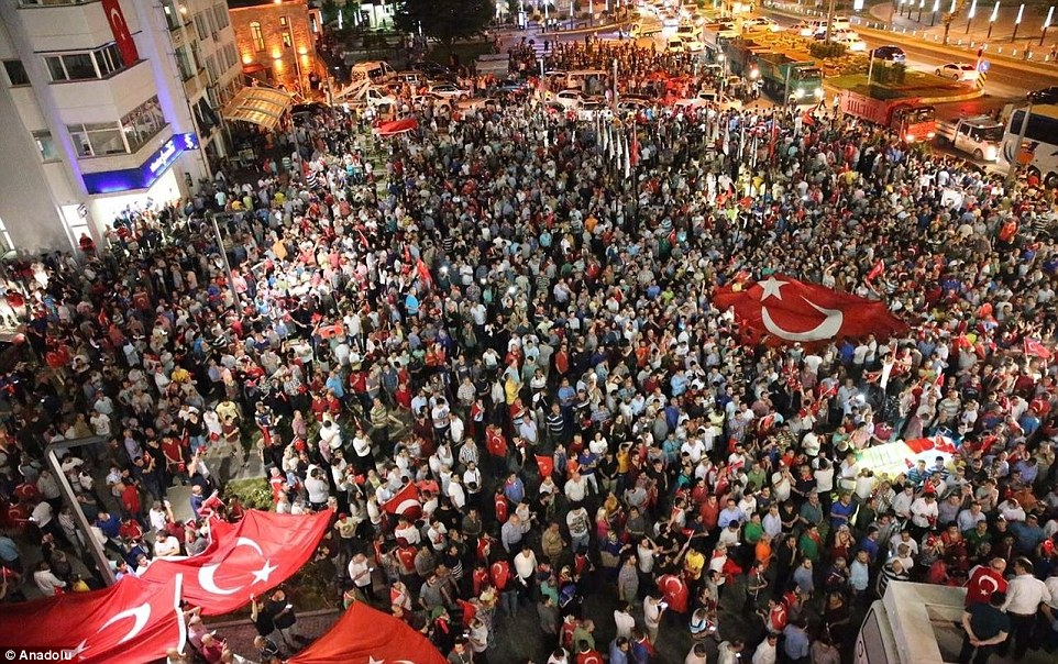 Thousands gathered, many carrying Turkish flags, in Ordu, Turkey after a rebel faction of the military staged a coup