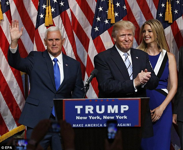 Trump and Pence are off to the races, with Ivanka Trump, right looking on as applause washed over the room