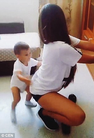 others have said it is completely innocent and the baby is just dancing