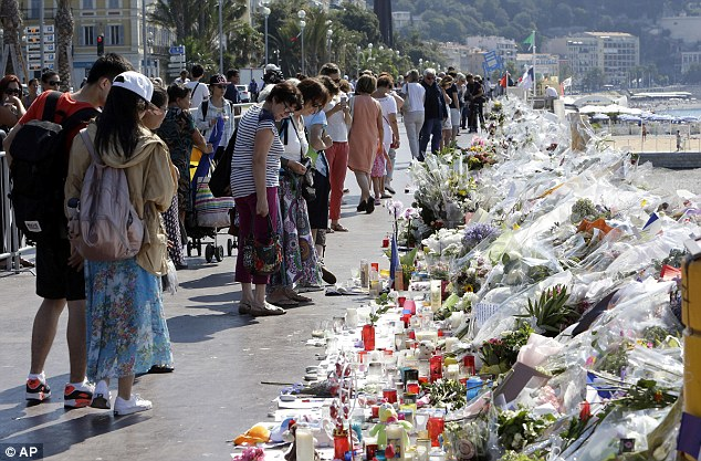 Scores died when a lorry was driven through crowds in Nice this month, with mourners leaving floral tributes at the scene