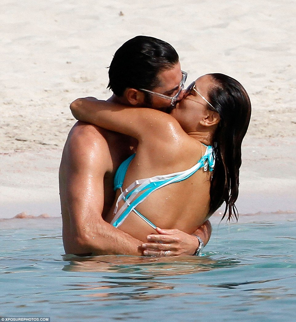 PDA! Eva Longoria and Jose Baston looked more loved up than ever as they frolicked in the sea on Spain's Balearic island Formentera