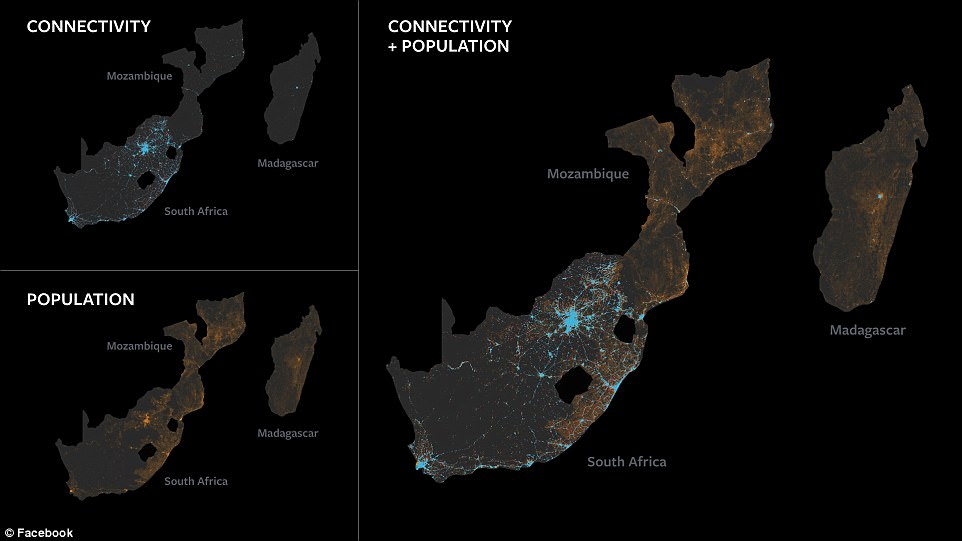 An infographic shows the connectivity and population of Mozambique, South Africa and Madargascar