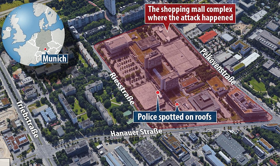 The shopping centre is next to the Munich Olympic Stadium, where the Palestinian militant group Black September took 11 Israeli athletes hostage and eventually killed them during the 1972 Olympic Games