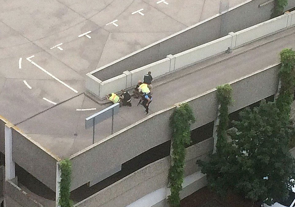 First reports said a heavily armed man wandered through the shopping centre opening fire at will. Pictured are armed police on the roof of the car park