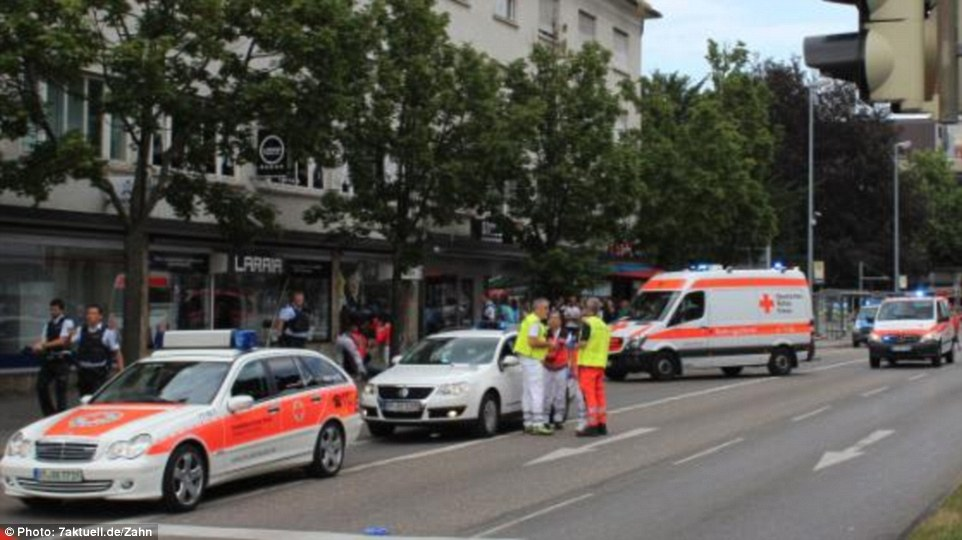 Emergency services raced to the scene following reports of the machete attack. The attacker has been named as a 21-year-old Syrian refugee