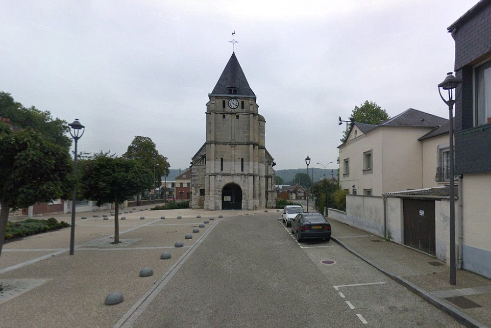 Two men armed with knives took several people hostage at Church of the Gambetta (pictured) in France's northern Normandy region on Tuesday, a police source said