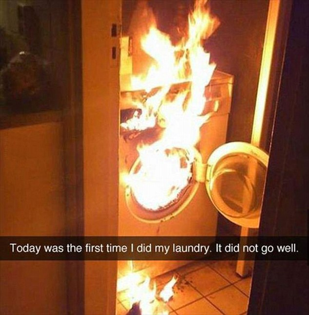 Someone shared a photo of their washing machine completely on fire, with the caption 'Today was the first time I did my laundry. It did not go well'