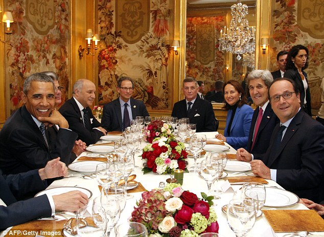 The Secret Service charges for the president and his staff cost taxpayers $1,324,171.60 to attend the COP21. Above Obama (left) dines with world leaders including French President Francois Hollande (right) at COP21