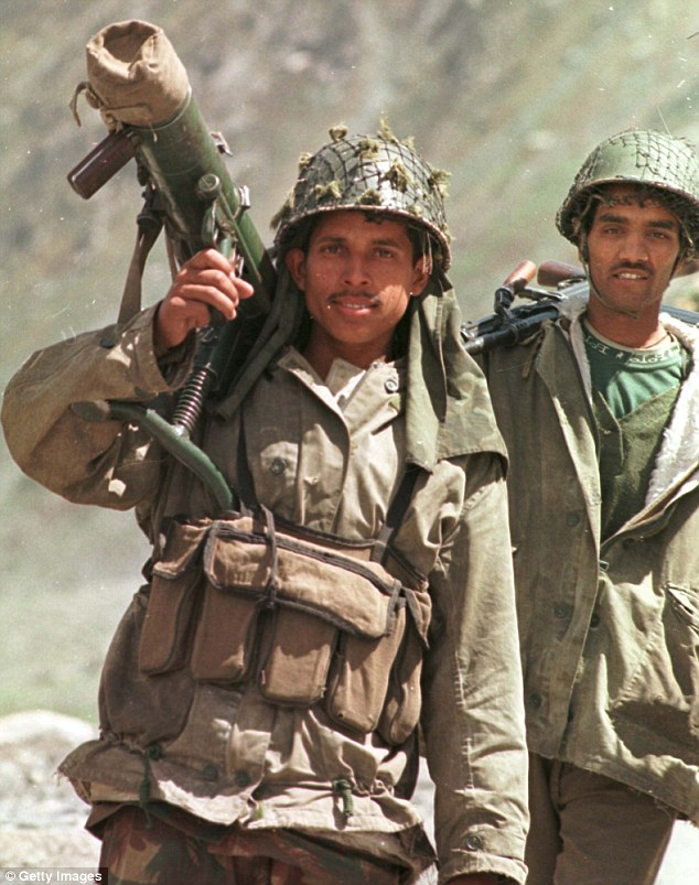 Indian soldiers patrol in the Kargil sector against a Pakistani-backed armed intrusion into India's side of Kashmir in 1999 (file picture).