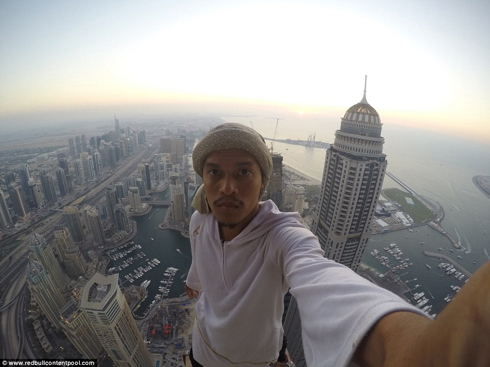 Abudi is a championship-winning parkour professional who, having earned a degree in electrical and electronic engineering, left to focus on his passion full time. Here he is pictured at the top of the World Trade Centre in Dubai