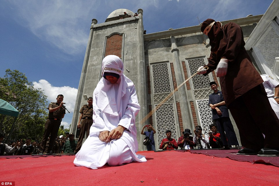 In total, three Acehnese couples were sentenced to receive public lashes for violating Sharia law in a brutal new crackdown in the region