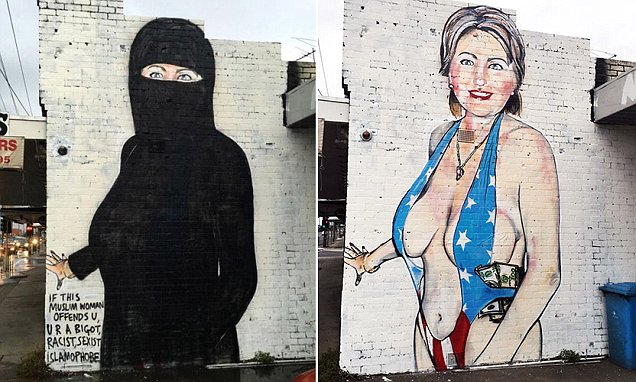 Hillary Clinton Melbourne mural covered with traditional Muslim niqab