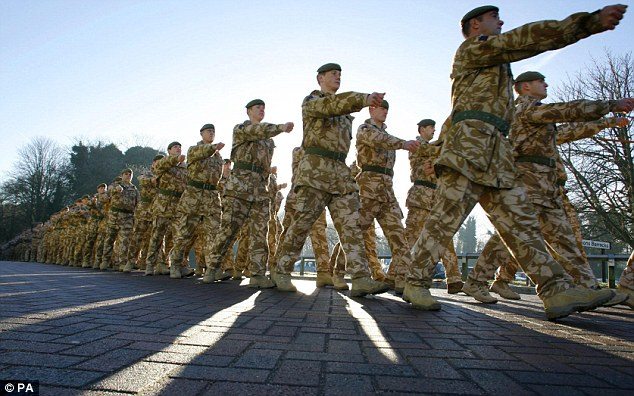 Soldiers were reportedly warned not to wear their uniforms to work or in the town (file photo)