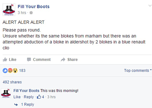 A post on the military-themed Fill Your Boots Facebook page said this morning that there had been an attempted abduction