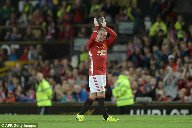 Wayne Rooney applauds his fans as he is replaced after 53 minutes of his testimonial match
