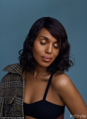 Showing off her decolletage: Kerry Washington sizzled in a revealing Bottega Veneta bra top and a Prada plaid coat in a photo shoot for InStyle magazine, released on Thursday