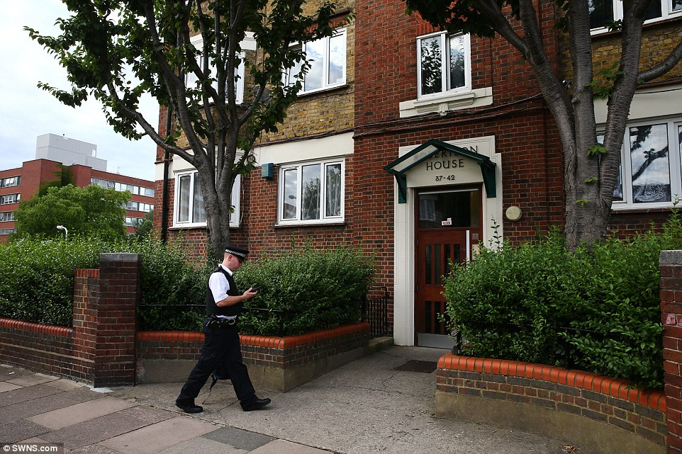Search: Police continue to work in Bulhan's south London council flat today - a family friend said the emergency services have been called several times this year because the teenager wanted to harm himself