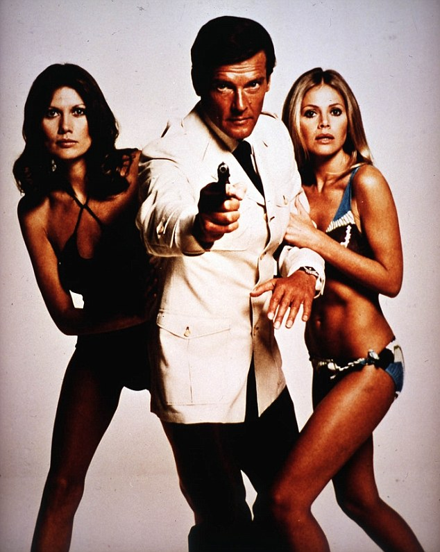 She famously appeared in the Bond film The Man With The Golden Gun with Roger Moore and Maud Adams (left)