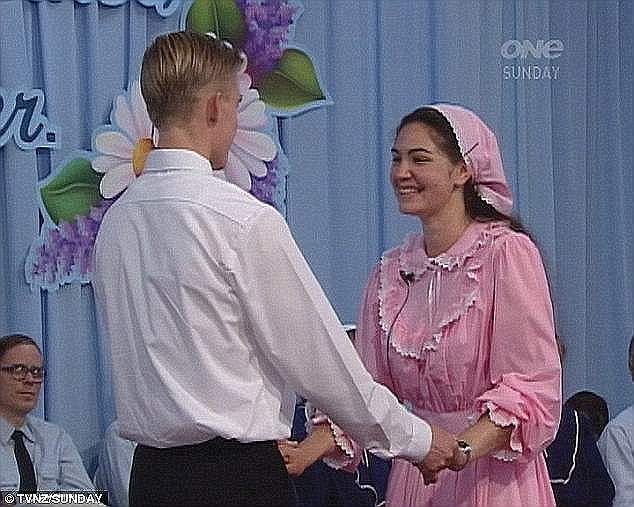 The couple is married and they exchange vows - where the woman promises to submit to the man and the man vows to be a leader