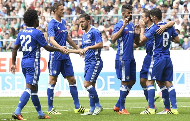 Chelsea players celebrate Oscar's (right) goal during their final pre-season friendly