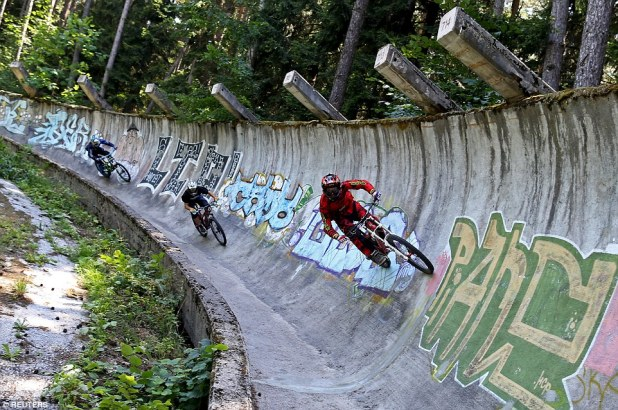 In Sarajevo, Bosnia and Herzegovina, the disused bobsled from the 1984 Winter Olympics has been vandalised and is now enjoyed by hordes of mountain bikers
