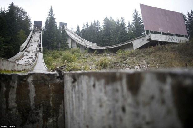 A view of the disused ski jump from the Sarajevo 1984 Winter Olympics on Mount Igman, near Sarajevo