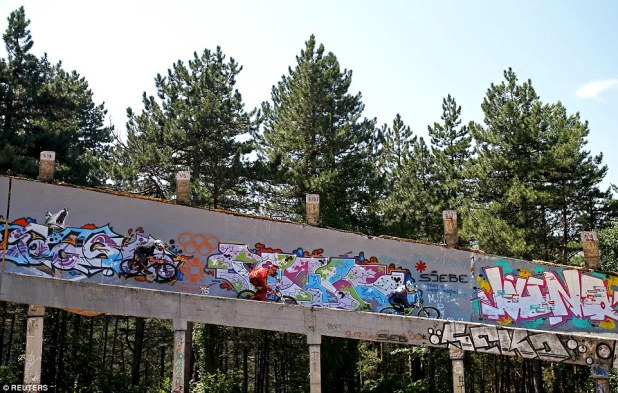The disused bobsled track from the 1984 Sarajevo Winter Olympic Games on Trebevic mountain is now a target of frequent vandalism