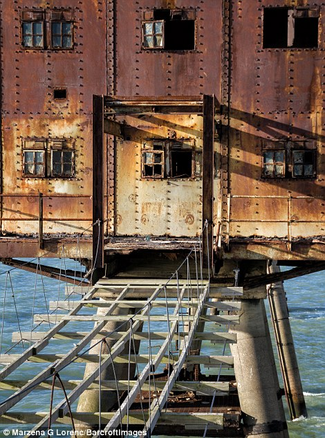 She said the huge forts are almost completely empty on the inside and the rusty walls are stripped bare