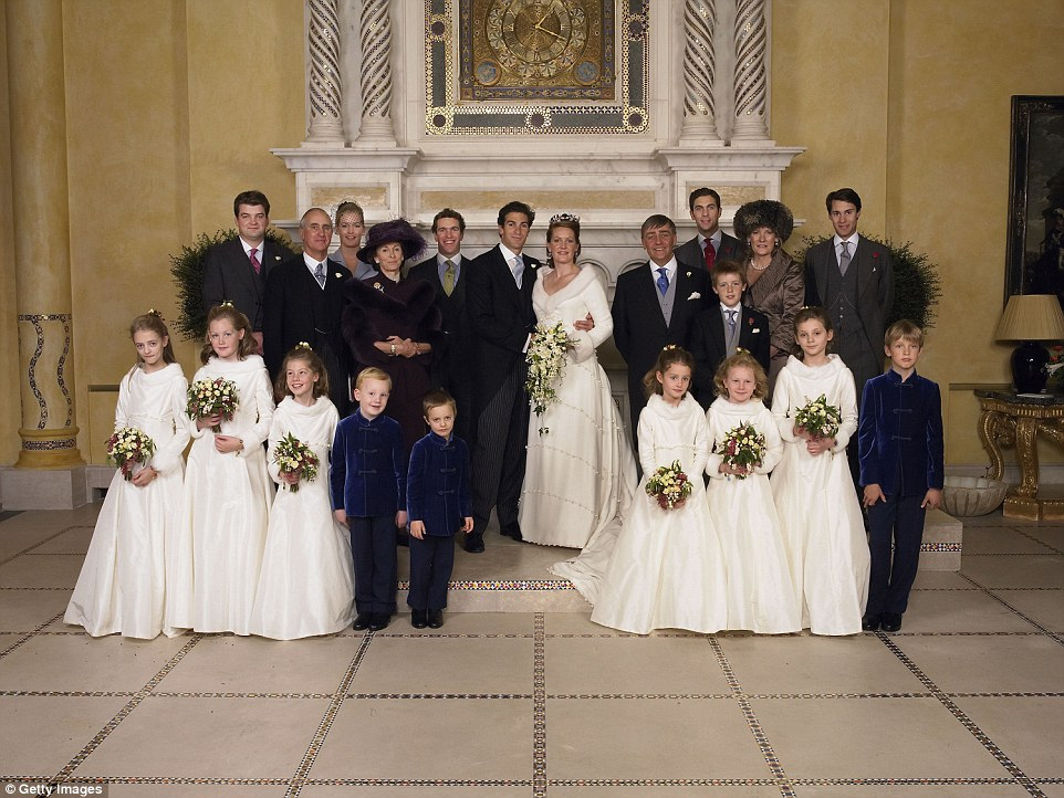 Lady Tamara is married to one of Prince William's best friends, Ed Van Cutsem. They are pictured on their wedding day with The Duke (next to the bride), the Duchess (second from right), Hugh (between his parents) and bridesmaid Lady Viola (front row, second left)