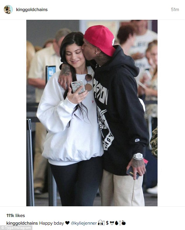 In love: The 26-year-old shared a sweet photo on Instagram as he wished Kylie a happy birthday Tuesday