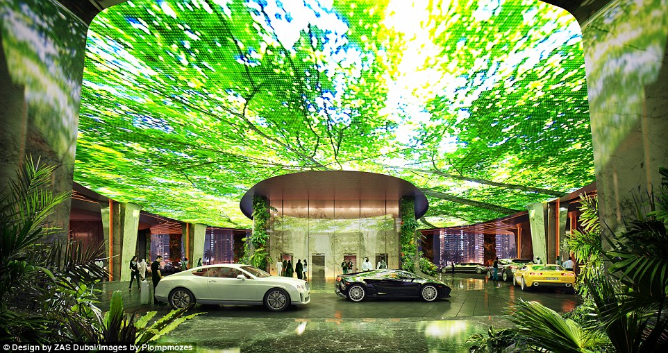 Well-to-do guests will pull up in luxury cars and park under a screen which can display images of vegetation or marine life
