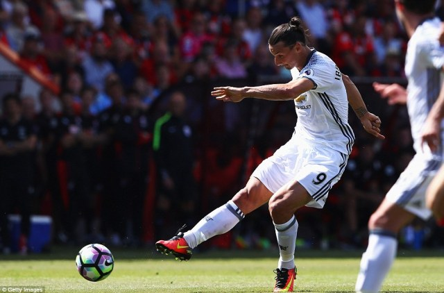 Ibrahimovic scored their third goal of Sunday afternoon with this long-range effort