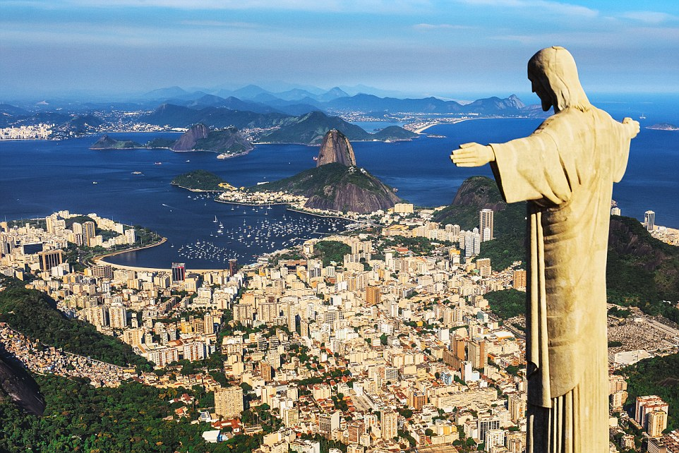 The Rio De Janeiro cityscape today with Christ the Redeemer and Sugarloaf Mountain in the background